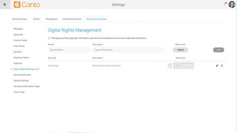 Screenshot der Einstellungsseite für das Digital Rights Management und des Bereichs zur Verwaltung von Wasserzeichen für das DAM-System von Canto.
