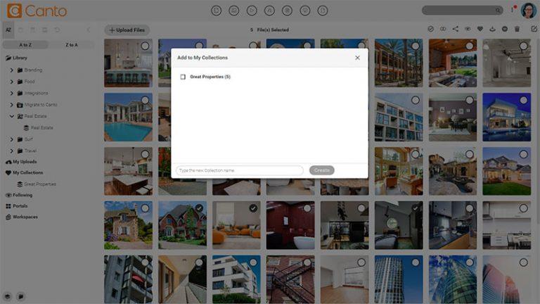 Screenshot der Hauptmedienbibliothek des DAM-Systems von Canto mit der Baumstruktur für Ordner und Alben auf der linken Seite; er zeigt ein Dialogfenster zum Speichern markierter Bilder in einer Kollektion.