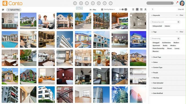 Screenshot of the main media library of the Canto DAM with previews of images showing houses and real estate; it also shows the available filter options at the right side.