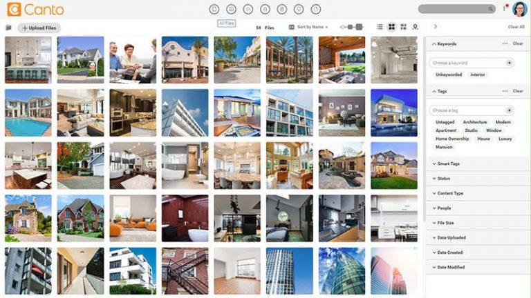Screenshot der Hauptmedienbibliothek des DAM-Systems von Canto mit Voransichten von Bildern, die Häuser und Immobilien zeigen; er zeigt auch die verfügbaren Filteroptionen auf der rechten Seite.