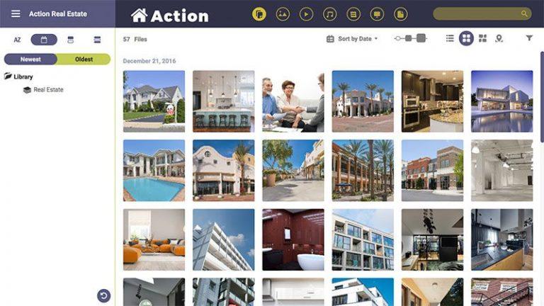 Screenshot eines Portals im markenkonformen Stil, das für eine Immobilienfirma erstellt wurde; es enthält Voransichten von Bildern, die Häuser und Immobilien zeigen.