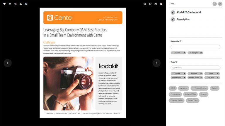 Screenshot der Detailansicht eines Assets im DAM-System von Canto; er zeigt ein Canto Whitepaper zum Thema KodakIT, und rechts davon den Bildtitel, die Beschreibung sowie die Kategorien und Schlagworte.