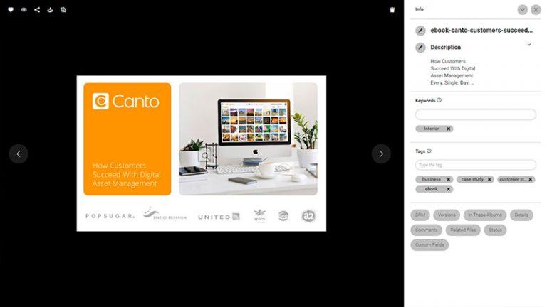 Screenshot der Detailansicht eines Assets im DAM-System von Canto; er zeigt das Deckblatt eines Canto E-Books zum Thema Digital Asset Management, und rechts davon den Bildtitel, die Beschreibung sowie die Kategorien und Schlagworte.