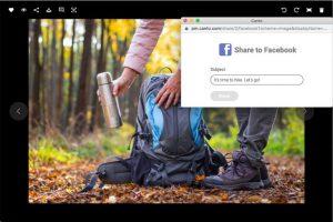 Screenshot der Detailansicht eines Bildes im DAM-System von Canto, darüber ein Dialogfenster zum Teilen des Bildes auf Facebook.