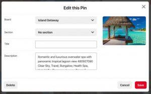Screenshot der Benutzeroberfläche des DAM-Systems von Canto mit einem Dialogfenster, das Optionen zum Bearbeiten eines Pins in Pinterest anbietet.