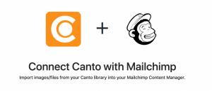 Übersichtsbild, das die Vorzüge einer Integration von Canto mit MailChimp bewerben soll.