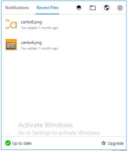 Ein Screenshot des Bereichs der 'zuletzt verwendeten Dateien' auf der Dropbox.
