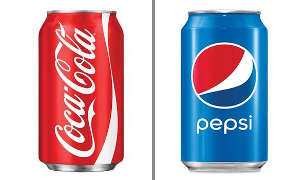 Coke and Pepsi cans side-by-side.