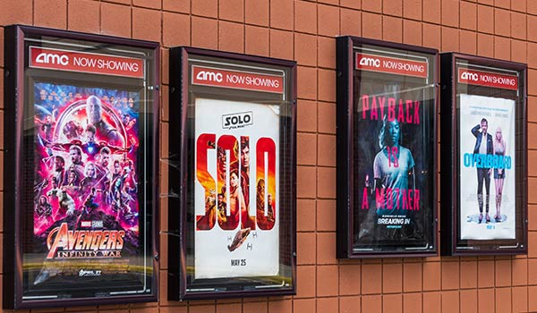 Movie posters at the theater.