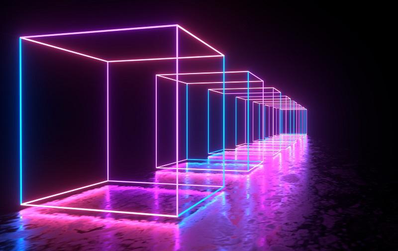 Digital rooms in neon lighting.