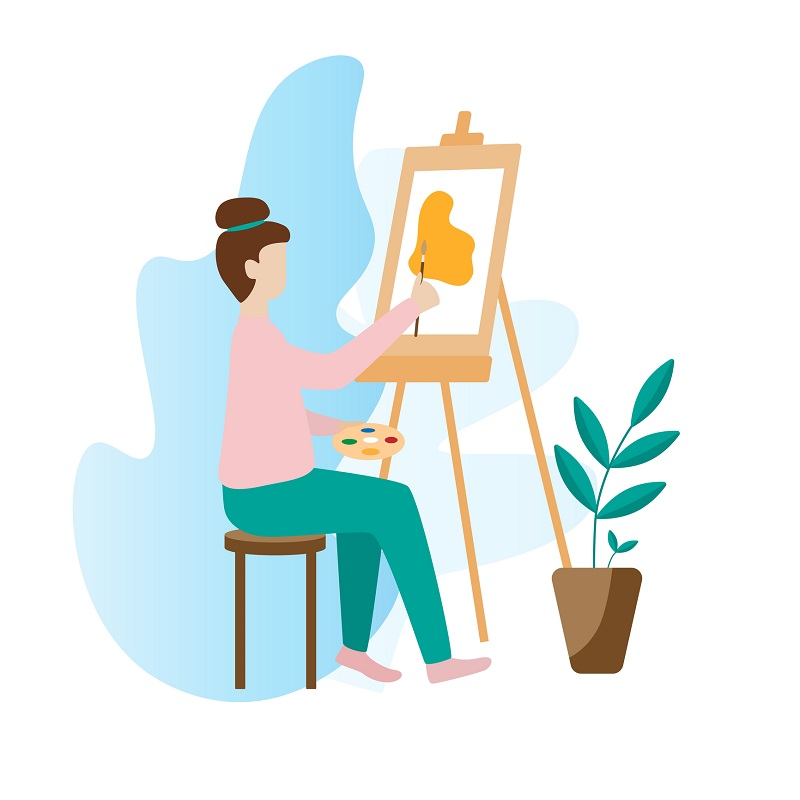 An animated woman painting.