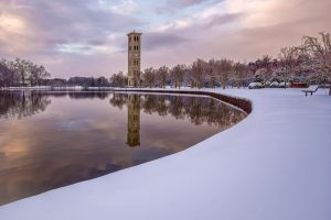 Furman University campus in winter.