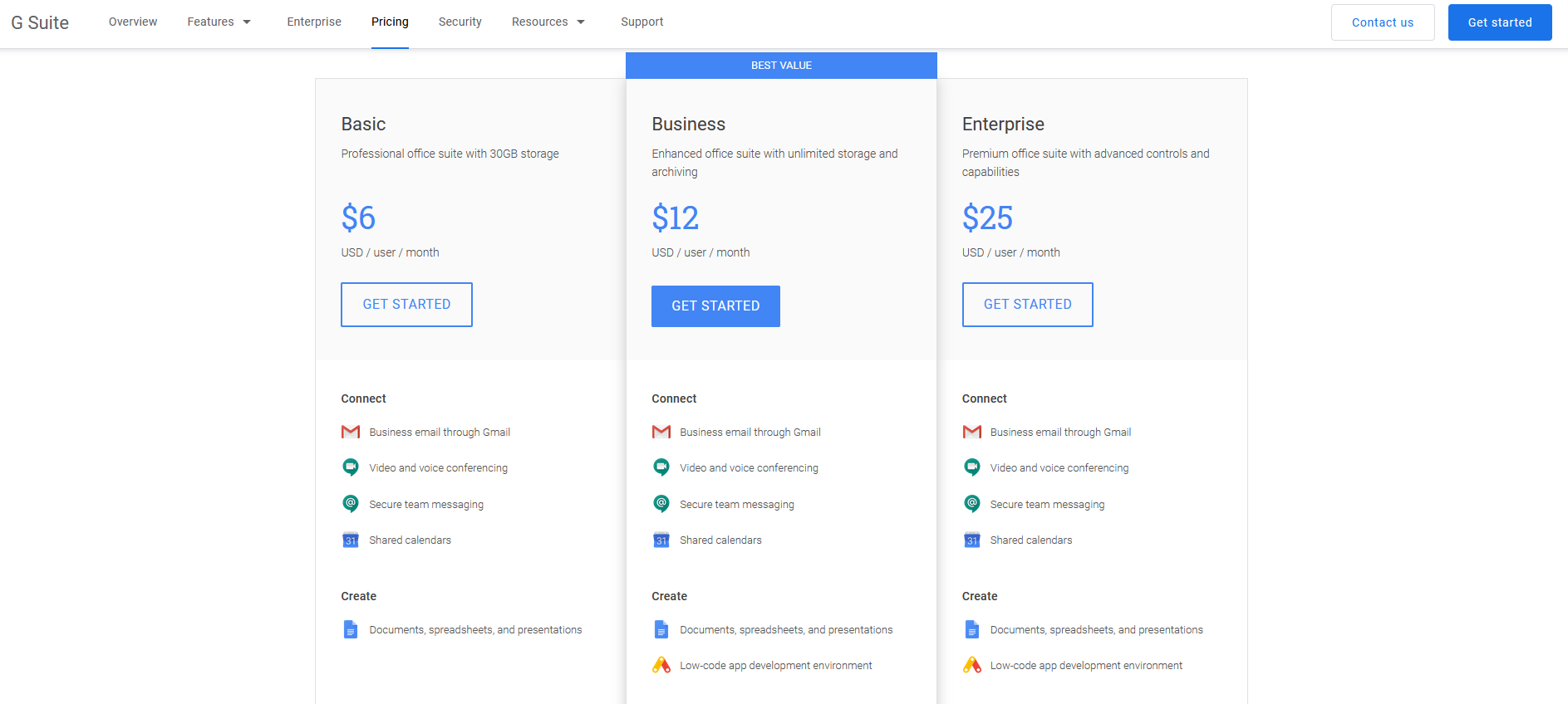 The pricing section of G Suite.