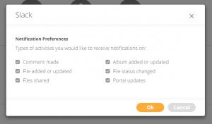 Screenshot der Benachrichtigungseinstellungen für die Slack-Integration des Canto DAM-Systems.