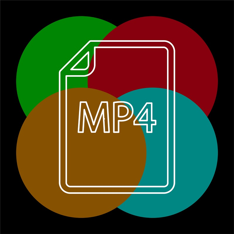 A four-colored background of an MP4 icon.