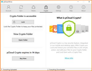 Ein Screenshot der Benutzeroberfläche von pCloud.