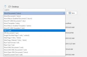 Eine Abbildung einer Datei im Dateityp .doc in einem Office-Programm, die als PDF gespeichert wird.