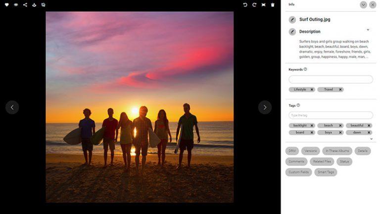 Screenshot der Detailansicht eines Assets im DAM-System von Canto; er zeigt das Bild von Surfern mit ihren Boards an einem Strand bei Sonnenuntergang, und rechts davon den Bildtitel, die Beschreibung sowie die Kategorien und Schlagworte.