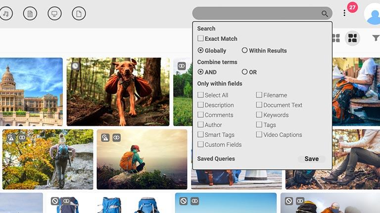 Screenshot of the main media library of the Canto DAM with previews of images and search bar