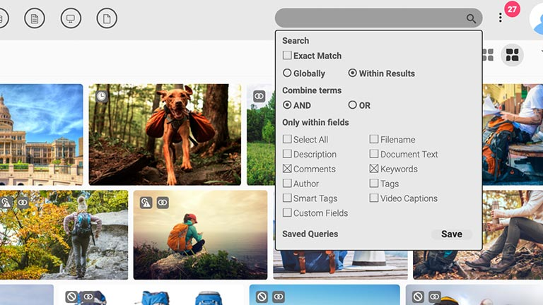 Screenshot of the main media library of the Canto DAM and the folder and album tree structure to the left side and the search function dropdown box at the top; it shows previews of images and search bar