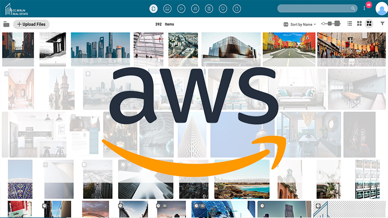 Screenshot of the main media library of the Canto DAM with previews of images showing houses and real estate, overlaid by a closed orange padlock reading Amazon Web Services.