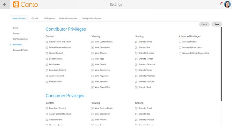 Screenshot of the privileges settings page in the Canto DAM.