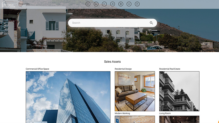 Screenshot of a branded portal of a real estate company, with previews of images showing houses and real estate.