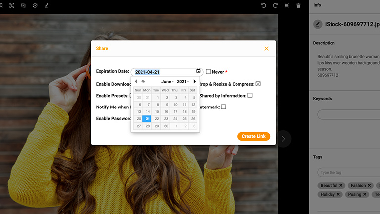 Screenshot of the detailed view of an asset in the Canto DAM; it shows the picture of a young woman in a yellow sweatshirt, overlaid by a dialog box offering options to set the expiration date for a share link.
