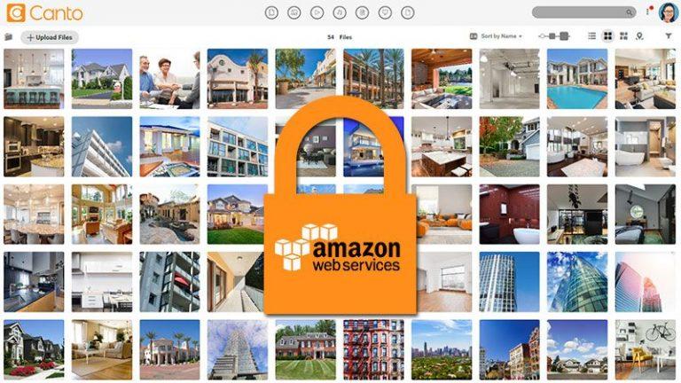 Screenshot der Hauptmedienbibliothek des DAM-Systems von Canto mit Voransichten von Bildern, die Häuser und Immobilien zeigen, überlagert von einem geschlossenen orangefarbenen Vorhängeschloss mit der Aufschrift Amazon Web Services.