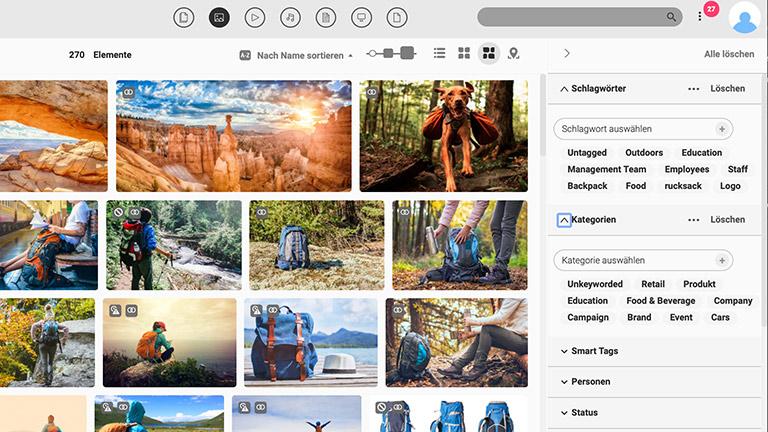 Screenshot der Hauptmedienbibliothek des DAM-Systems von Canto mit Voransichten von Bildern; er zeigt auch die verfügbaren Filteroptionen auf der rechten Seite.