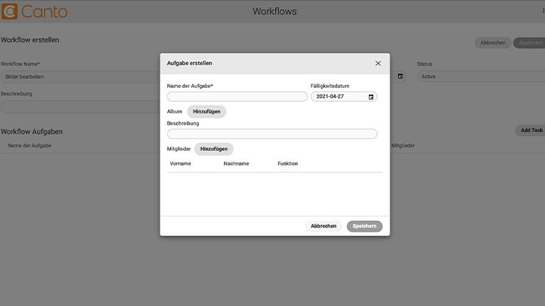 Screenshot der das DAM-System von Canto zeigt, sowie darüber ein Dialogfenster für das Workflow-Management.