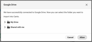 A dialog box confirming the successful connection of Canto and Google Drive.