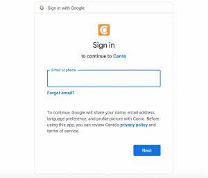 Der Anmeldebildschirm für Google Drive im DAM-System von Canto, mit dem der Zugriff und die Synchronisation für die Integration genehmigt werden können.