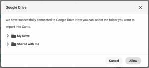 Ein Dialogfenster, das die erfolgreiche Verbindung von Canto mit Google Drive bestätigt.