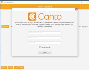 Screenshot der Anmeldemaske für die Canto Connect App.