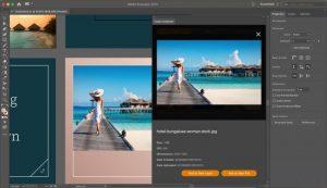 Screenshot der Benutzeroberfläche von Adobe Illustrator mit der Integration für das DAM-System von Canto, mit Darstellung eines visuellen Assets, in dem eine Frau auf einem sonnigen Dock spaziert.