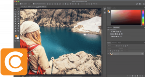 Screenshot of Photoshop in Action with the Canto Logo.