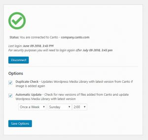 Screenshot of the status window of the WordPress integration with the Canto DAM.