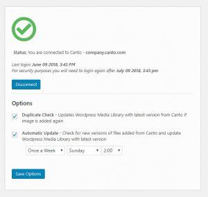 Screenshot der Statusmeldung der WordPress Integration mit dem DAM-System von Canto.