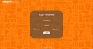 The login screen of Zippy's
