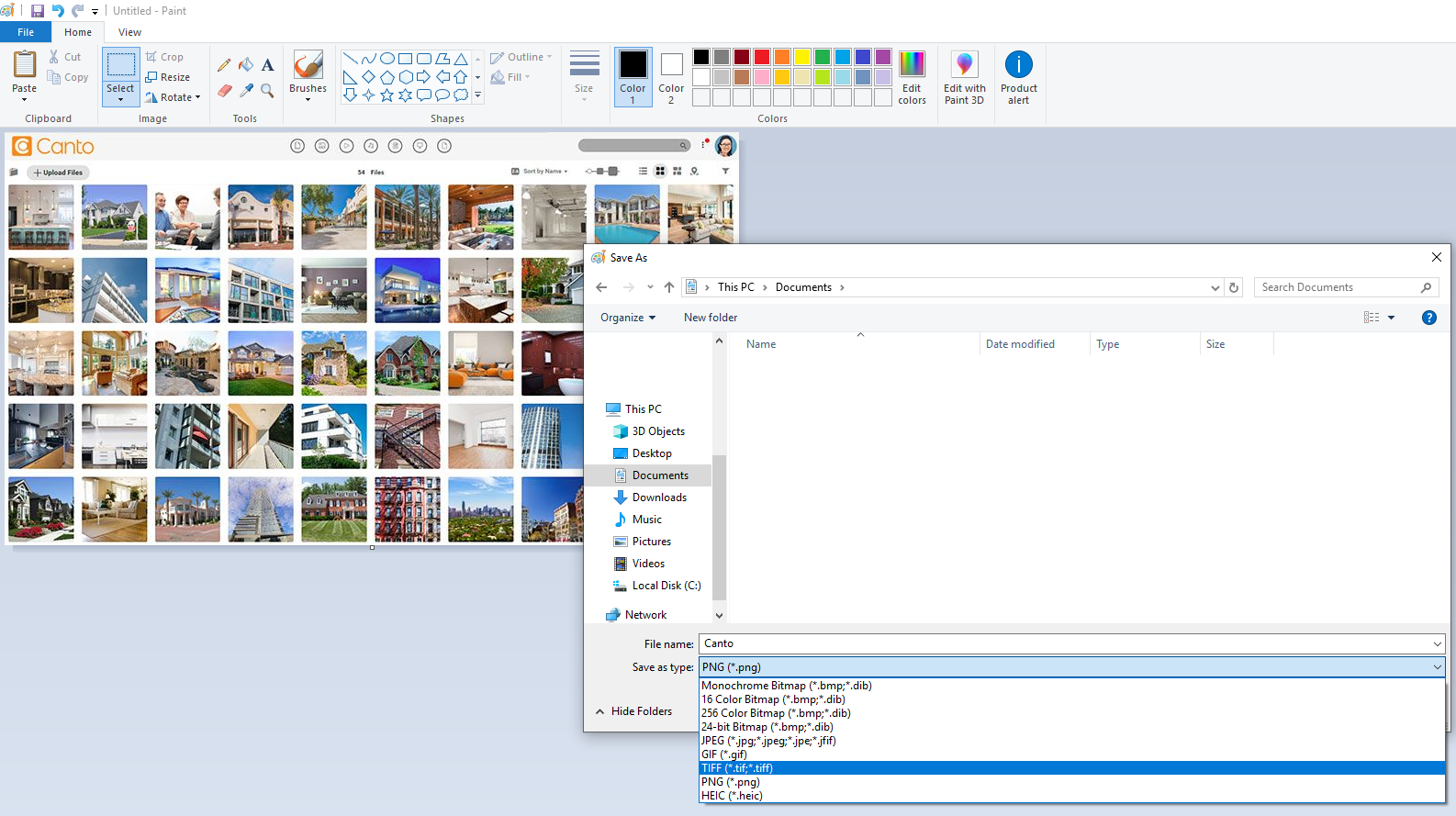 A screenshot of the Paint app converting an image.