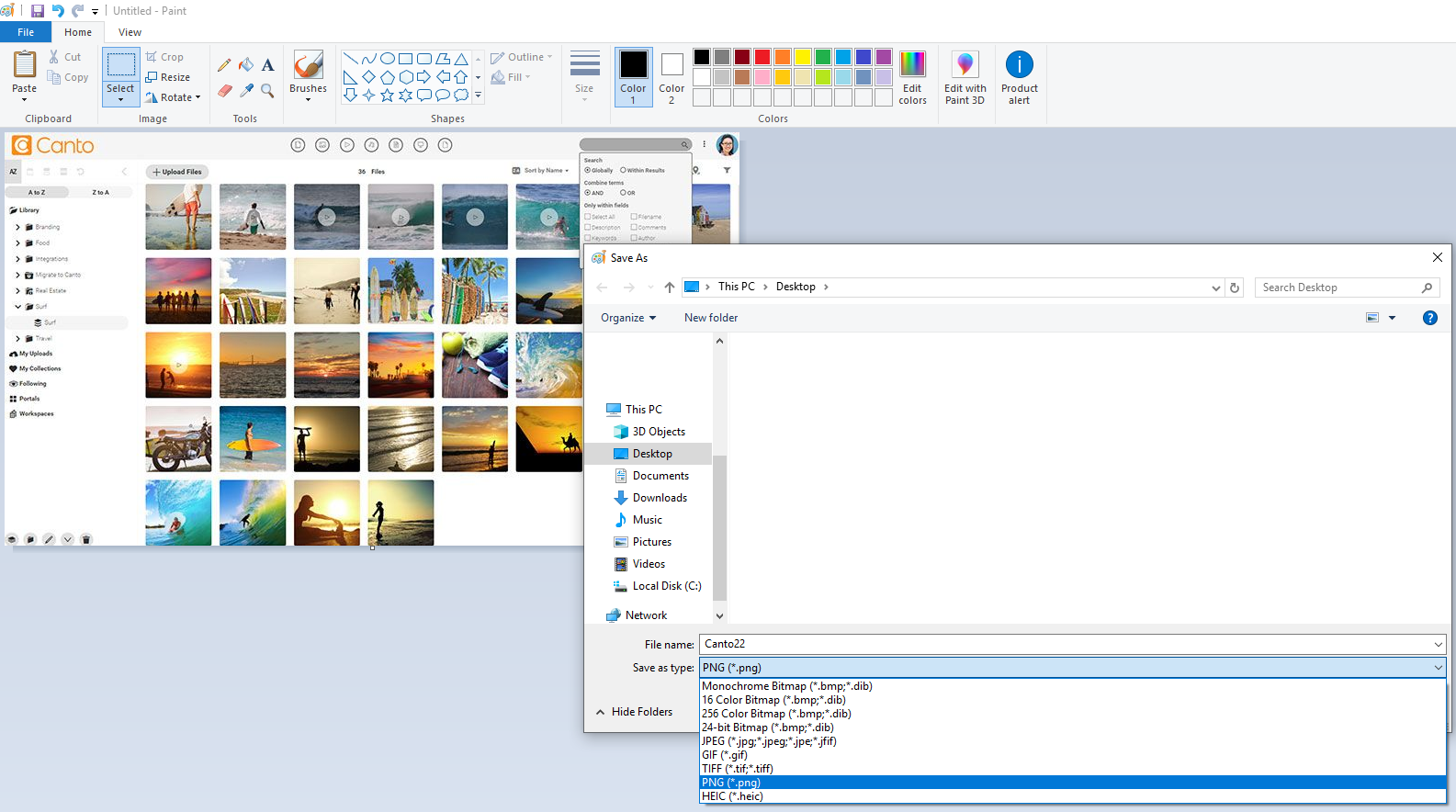 A screenshot of the Paint app making an image conversion.
