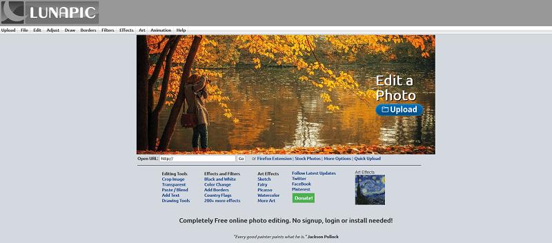 The LunaPic website.