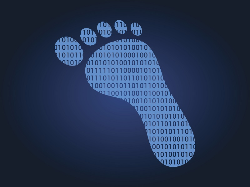 A picture of a footprint with binary code inside.