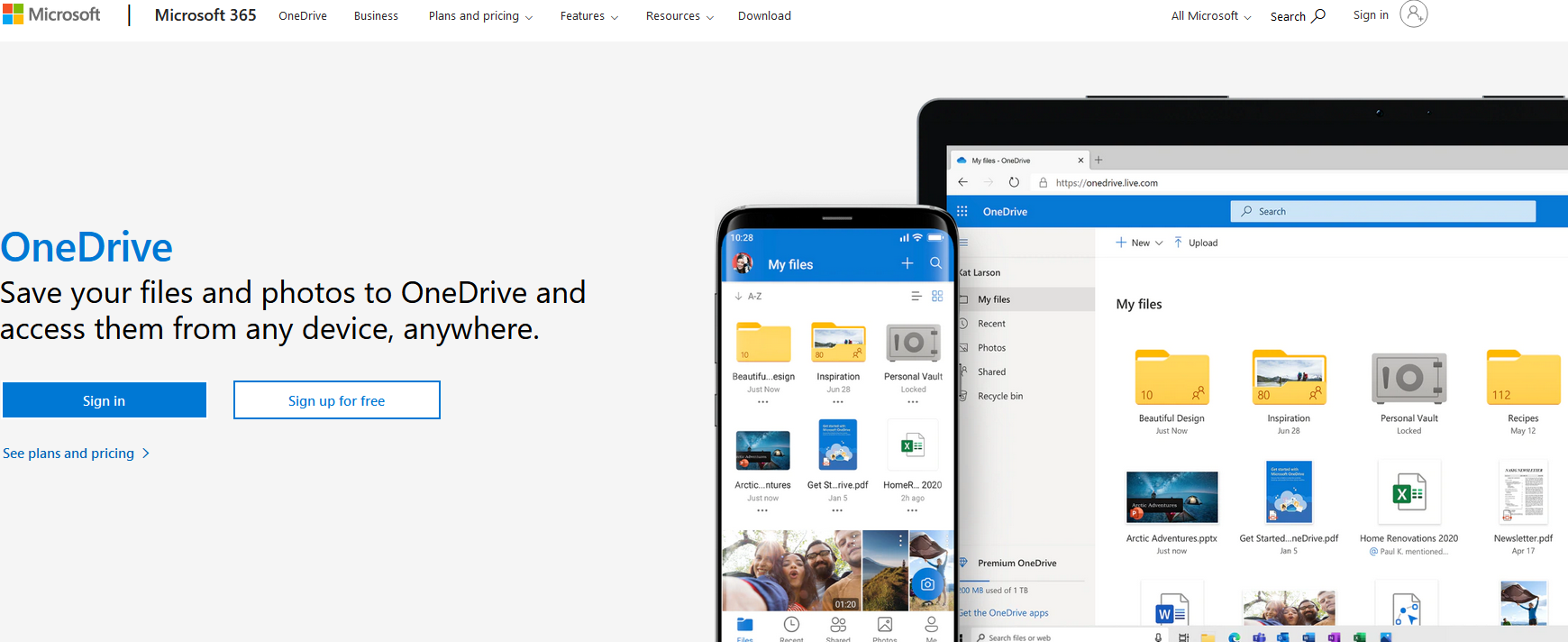 The OneDrive website.
