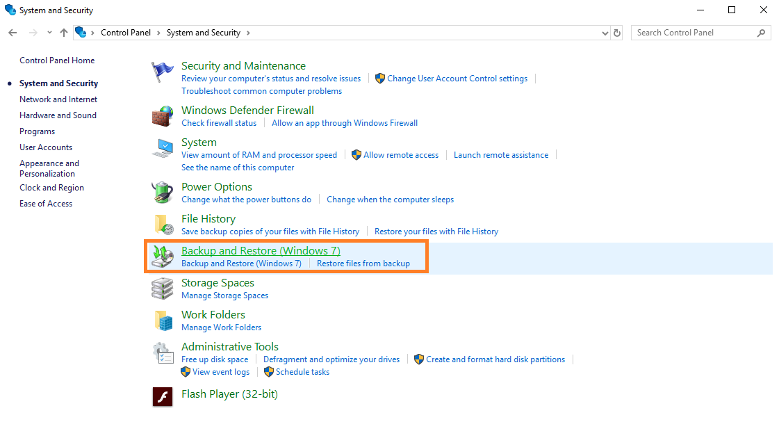 A screenshot of the control panel in Windows.