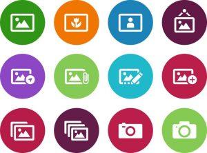 Ein Screenshot von vielen verschiedenen Symbolen für Bilddateien.