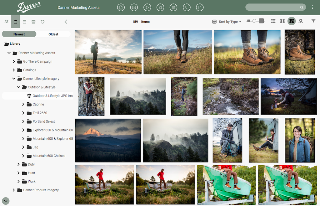 Danner's digital asset library in Canto