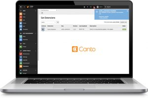 A laptop showing the extension page for installing the TYPO3 Integration for the Canto DAM.