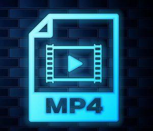 Ein neonfarbenes Dateisymbol für das MP4-Videoformat.